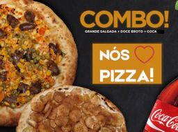 Combo Pizza Grande com borda, Refrigerante e Pizza Broto.
