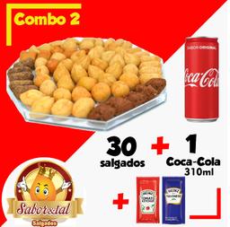 30 Salgados + Coca Cola 310 ml