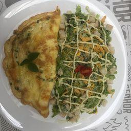 Omelete De Frango Com Catupiry + Salada Caesar