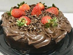 Torta Brownie Chocolate com Morango - 800g