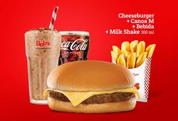 Cheeseburguer + Canoa + Bebida + Milk Shake