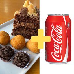 Combo Fatia de Torta, 3 Brigadeiros, 3 Coxinhas e Coca-Cola