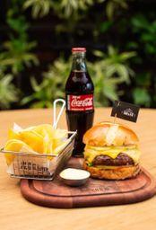 Combo Burger Parrilha, Batata e Coca-Cola.