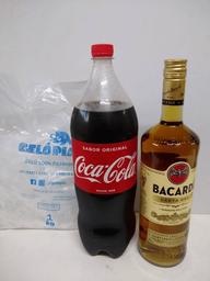 Bacardi carta oro + coca 2 l + gelo 1kg