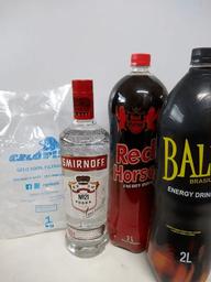 Vodka smirnoff 998 ml +baly ou red horse 2l + gelo 1kg