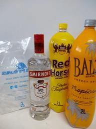 Vodka smirnoff 998 ml+baly ou red h. 2l trop + gelo 1kg