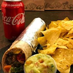 Combo Burrito à Sua Escolha + Nachos + Guacamole + Refrigerante