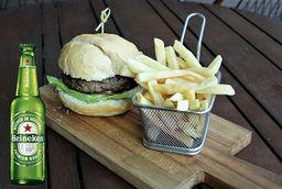 Hambúrguer de Picanha  +  Acompanhamento + Heineken