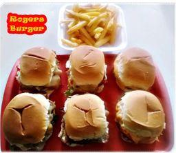 6 mini hamburger + fritas