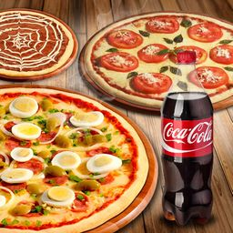 Pizza Grande + 1 Pizza Média  + 1 Brotinho + 1 Refri de 1,5l