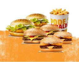 2 Chicken Jr. + 2 Rodeio + 2 Cheeseburger + Balde de Batata
