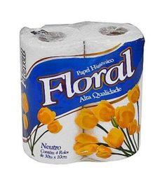 Papel higiene floral 4 rolo