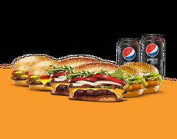 Zagueiro: 2 Whoppers + 2 Chicken Jr. + 2 Cheeseburgers + 2 Beb.