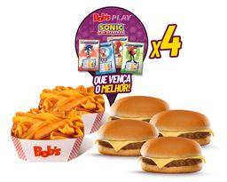 4 Cheeseburgers + 2 Batatas + Shake 1L + 4 Envelopes de Cards