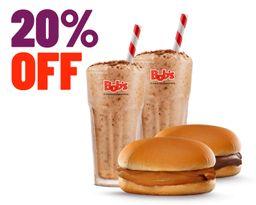 2 Milk Shakes 500ml e 2 Sanduíches Doces com 20%Off