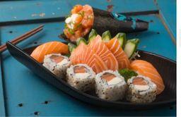 12 Sushi Salmão +Temaki