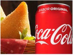 Coxinha tradicional + refrigerante Lata coca cola