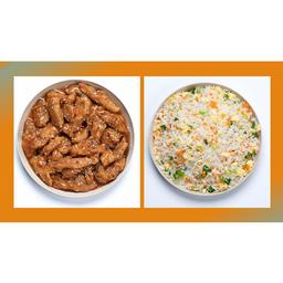 Orange Chicken com Arroz Chop Suey
