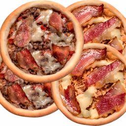 2 Carne Bacon e Queijo + 2 Frango Catupiry e Bacon