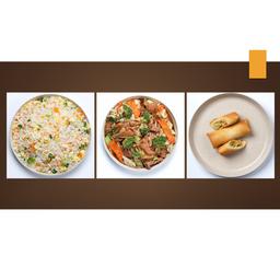 Carne com Legumes + Arroz Chop Suey + 1 Rolinho