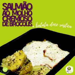 Salmão ao Molho Cremoso de Brócolis (150g) + Batata Doce (100g)