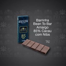 Bean To Bar 85% Cacau Com Nibs Zero Lactose - 25g