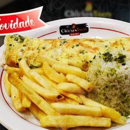 Omelete Chicken Arroz e Fritas