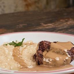Steak Au Poivre Vert com Risoto de Grana Padano
