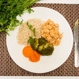 Frango + Arroz integral + legumes