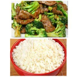 Carne com Brocolis + Arroz Branco