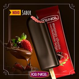 Morango com chocolate belga 80g picolé gourmet