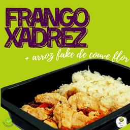 Frango Xadrez (150g) + Arroz Fake de Couve-flor (100g)