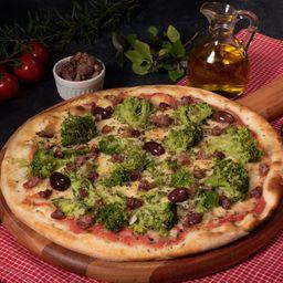 Pizza de Brócolis com Bacon