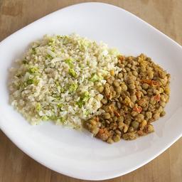 Lentilha com Arroz com Brócolis e Alho Poró
