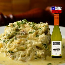 Bacalhau com Natas + Vinho Santa Ema (Individual)