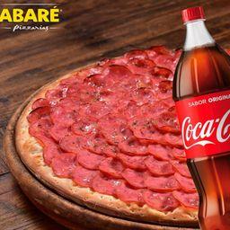 Pizza grande mais bebida
