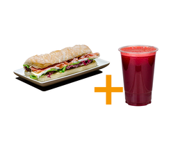 Sanduiche gourmet jamon brie + suco 500m