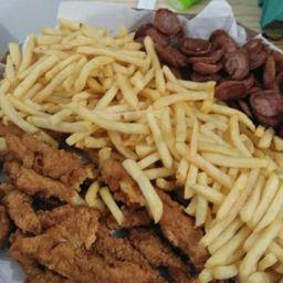Porção média batata frita/calabresa / frango crock.