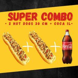 2 Hot Dogs 30 Cm Maçaricado + Coca 1 Lt