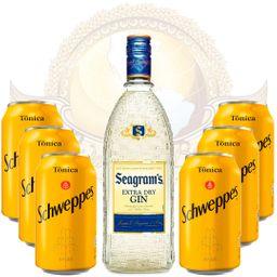 Kit Gin Importado Seagram's 750ml e 6 Águas Tônicas Schweppes