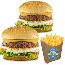 (combo nº3) dois sanduíches artesanal + batata frita grande 400g