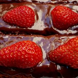 Bolo de Chocolate e Morango - Fatia