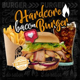 Combo Hardcore Bacon Burger e Bebida