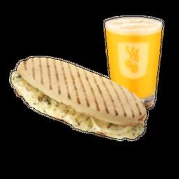Baguete Grelhada e Bebida Gelada