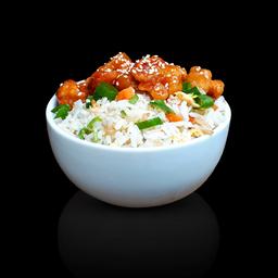 Couve-flor empanado agridoce com arroz