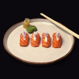 Nigiri salmão com cebola roxa