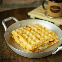 Lanche de waffle de requeijão de corte