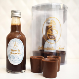 Licor de chocolate com copinhos de chocolate 50 ml