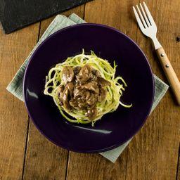 Espaguete de Abobrinha com Contrafilé