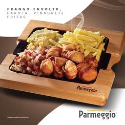 Frango Envolto + Vinagrete + Farofa + Fritas